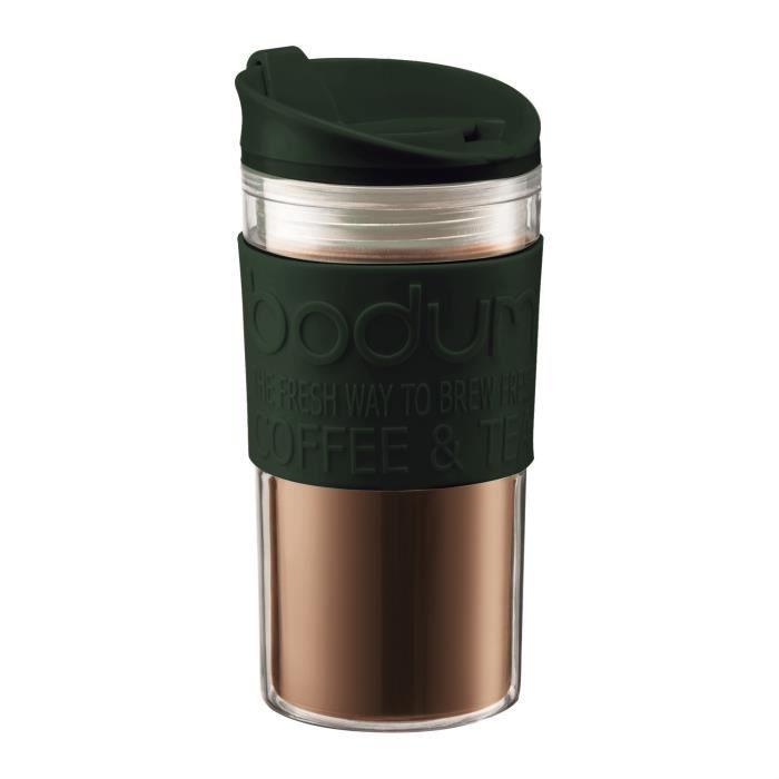 BODUM Mug de voyage - 0,45 L - Couvercle à clapet - Plastique double paroi