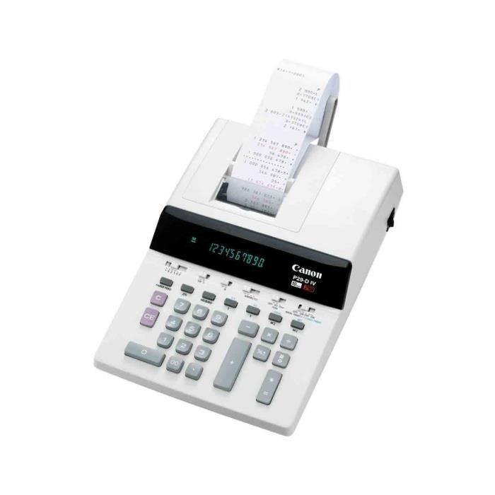 CANON Calculatrice avec imprimante P29-DIV - VFD - 10 chiffres - Adaptateur CA, pile de sauvegarde mémoire - Blanc