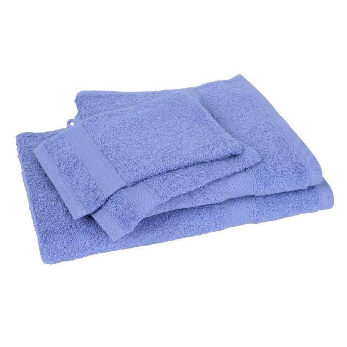 Lot de 2 gants + 1 drap de bain + 1 serviette ELEGANCE bleu