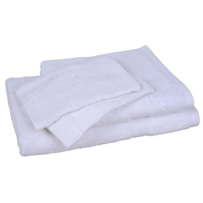 Lot de 1 drap de bain + 1 serviette + 2 gants ELEGANCE Blanc