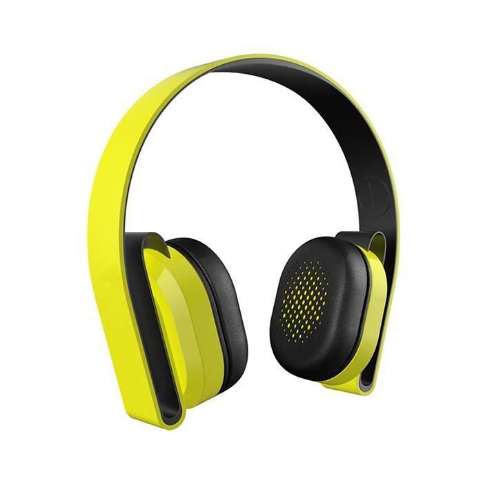 Casque Découte Bluetooth Avec Micro Hifi Jaune Casque écouteurs