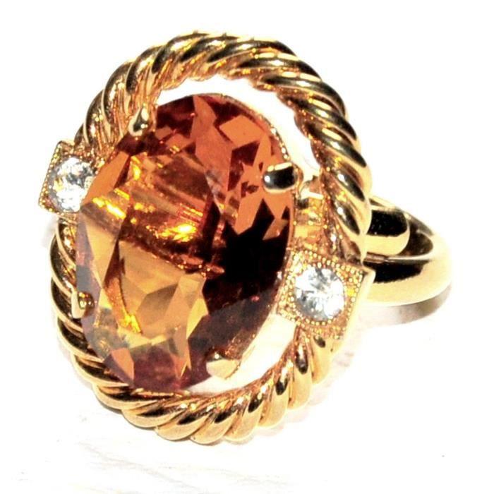 B.E. COOK LONDON Bague vintage couleur or cristal orange taille réglable bijou