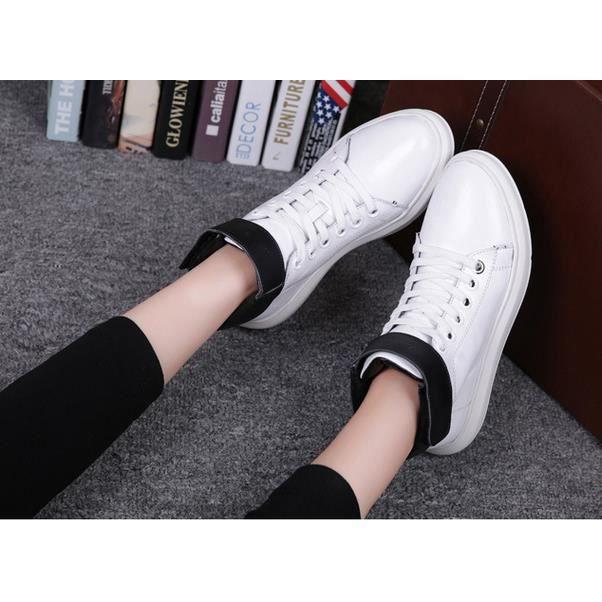 Haut-dessus chaussures plates amateurs de mode Nouvelle chaussures en cuir chaussures casual version coréenne de blanc 35