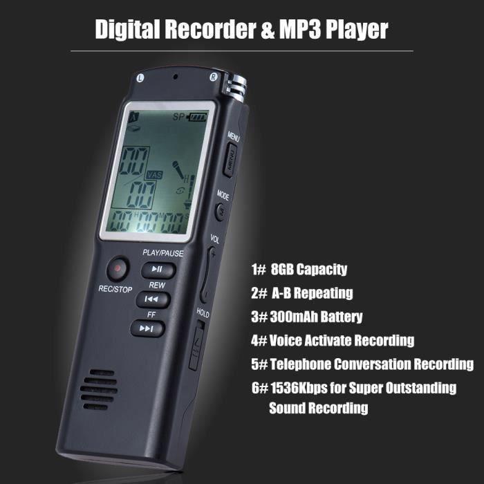 8 Go 1536 Kbit-s Enregistreur Vocal Lecteur Mp3 Dictaphone Soutien Enregistrement Téléphonique-a-b Répétition -vocale Var R646