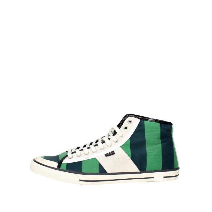 D.a.t.e. Sneakers Homme Noir/Vert, 45