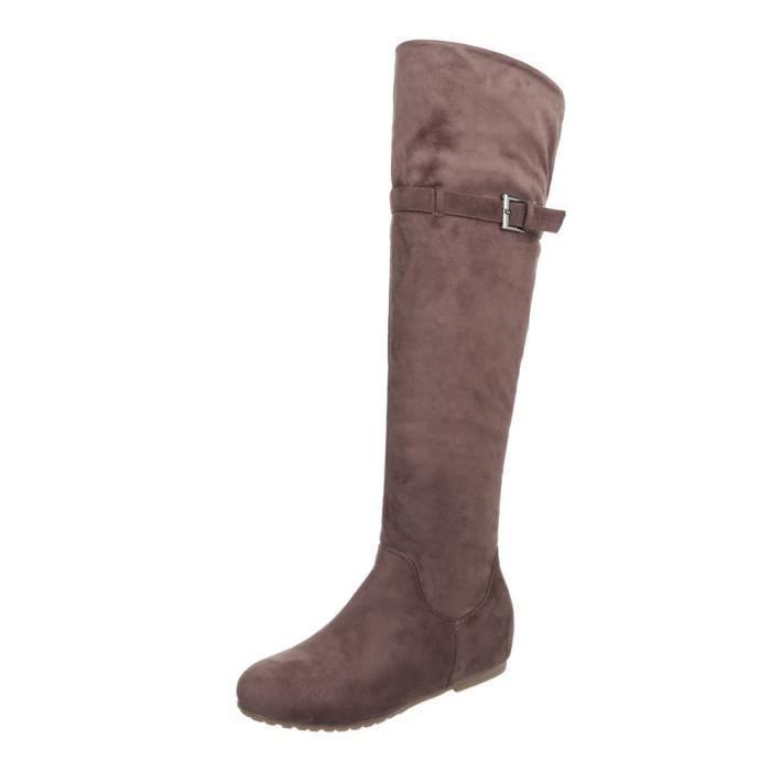 Chaussures femme Overknee bottes Talon compensé Marron clair 41