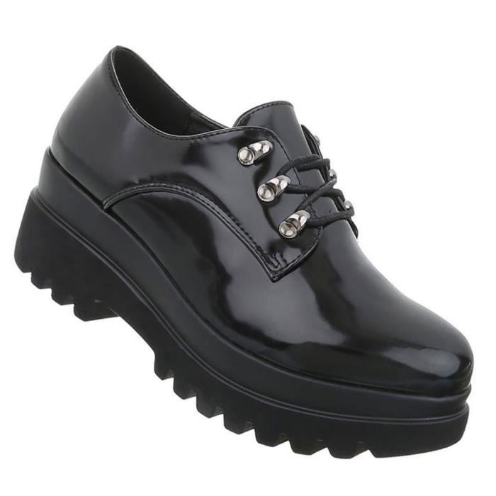 Chaussures femmes flâneurs laçage Bottes noir 41