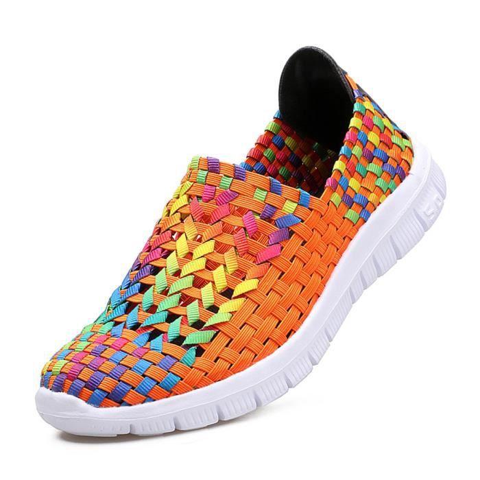 Hommes Sandale Marque De Luxe Chaussures Pour Homme Moccasins PerméAble à L'Air Plus Taille,orange,35