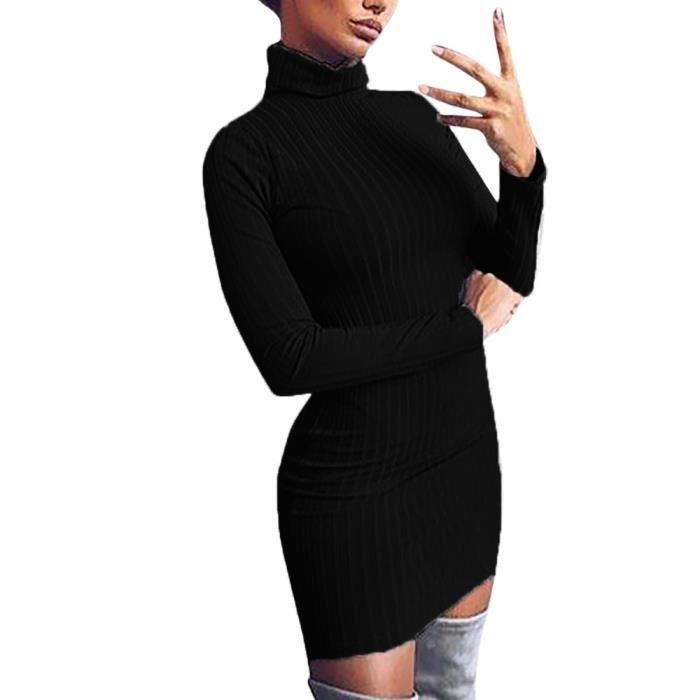 4ba5b1a9184 Col roulé décontracté solide manches longues au-dessus du genou robe robe  de soirée lâche Noir EXQUISGIFT