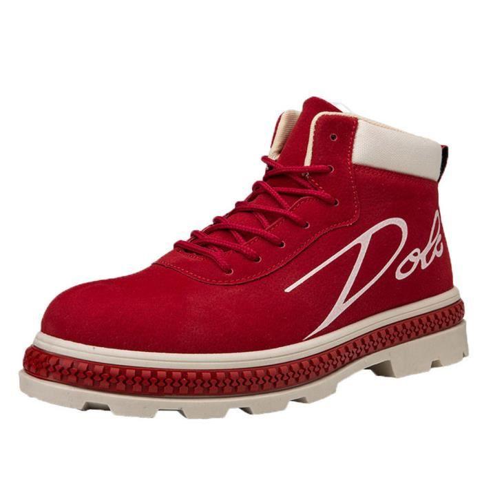 huadedu Bottes Hommes Bottines travail Chaussures Casual Haut Cut adultes Chaussures de sport Chaussures de marche rouge