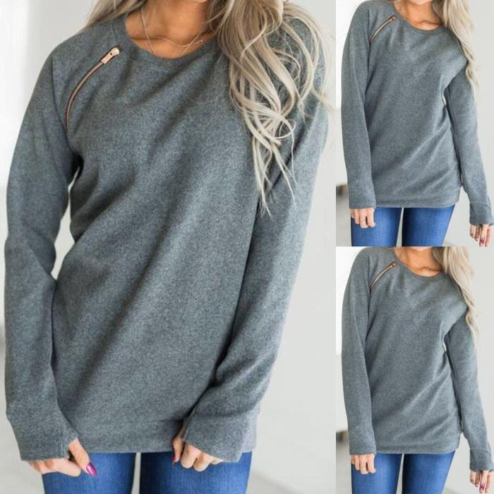 Mode Zipper shirt Sweat T Chemisier Manches À shirt cou Wy Femmes Gris O Longues Solide HRw44q