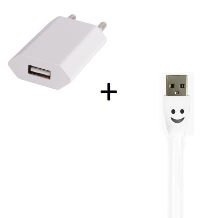 meet best deals on order Pack Chargeur pour HUAWEI P9 Lite Smartphone Micro USB (Cable Smiley LED +  Prise Secteur USB) Androi - Couleur:BLANC
