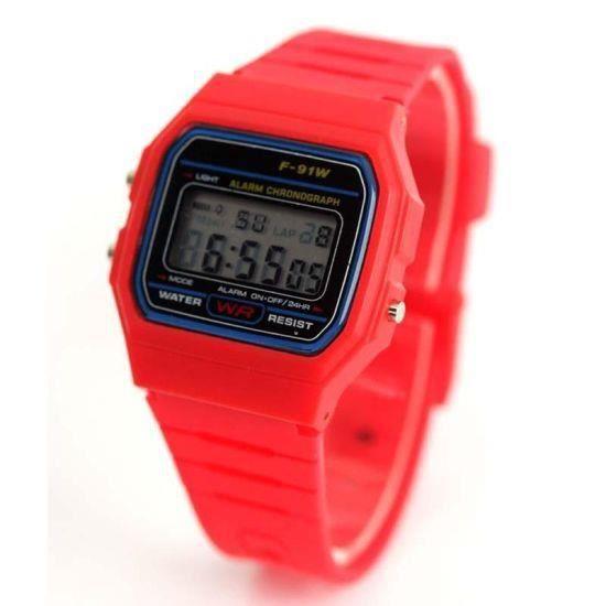 montre digitale casio rouge