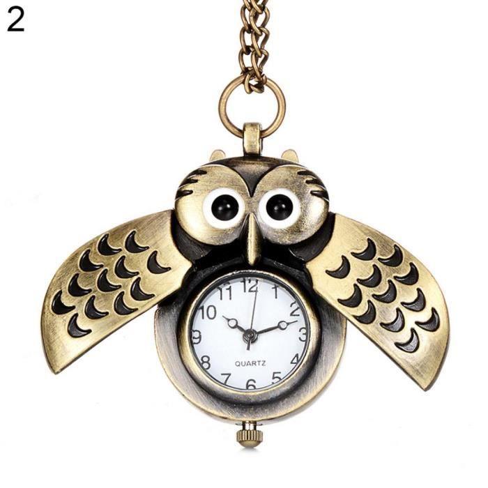 MONTRE Antique Cartoon Owl Wing Montre de poche Quartz An