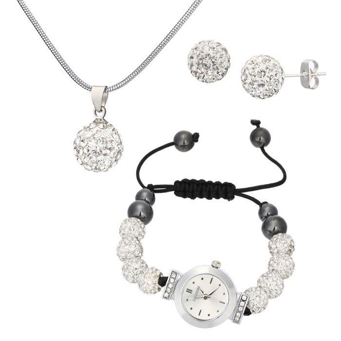 ma 39 dor coffret montre et bijoux femme blanc et noir tendance chic achat vente pack montre. Black Bedroom Furniture Sets. Home Design Ideas