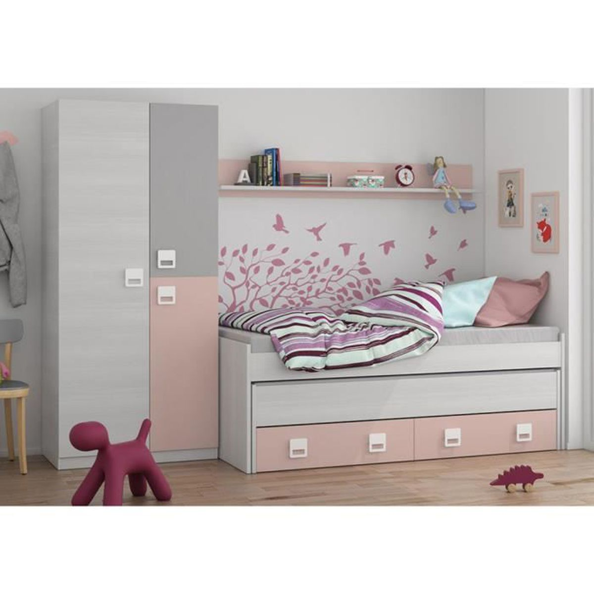 Lit Enfant Avec Tiroirs Lit Et Une étagère En Bois Coloris Blanc - Lit avec tiroir et etagere