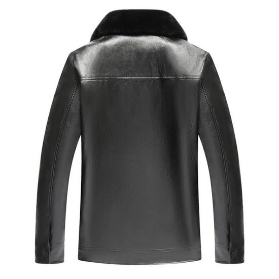 Tops D'homme Fourrure Imitation Zipper Manteau De Cuir Couleur Amovibles D'hiver Noir Pure Col En xq1pzwZt