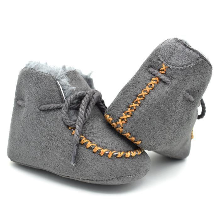 Automne et hiver Nouveau Chaussures en coton bébé Tendance Loisirs Fond mou Bébé Bottes-Gris