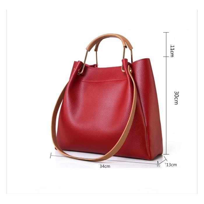 sac à main 4pcs - set femmes de haute qualité PU Femme en cuir solide Sac fourre-tout avec Bag Casual Porte-clés Sacs composi-2691