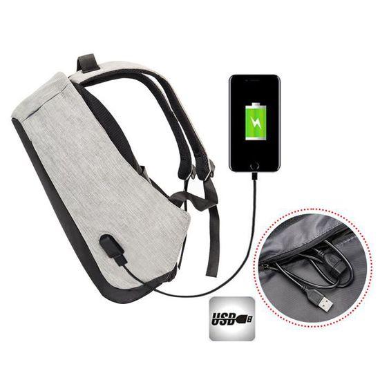 86186739be Sac à dos Anti-vol Sac avec USB Chargeur Sac pour Ordinateur Portable Poids  Léger Fonctionnel Résistant à l'eau Gris Gris et noir - Achat / Vente sac à  dos ...