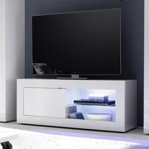 meuble tv blanc laque 140 cm achat vente pas cher. Black Bedroom Furniture Sets. Home Design Ideas