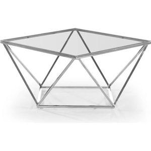 TABLE BASSE Table basse Louane en Verre Transparent et pieds A