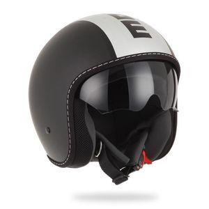 CASQUE MOTO SCOOTER MOMO DESIGN Blade casque jet noir mat et gris logo