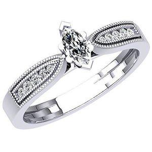 BAGUE - ANNEAU Bague Femme Diamants 0.30 ct  18 ct 750-1000 Or Bl