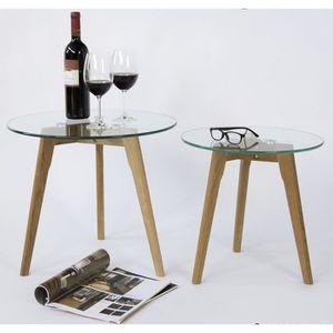 TABLE D'APPOINT Lot de 2 tables d'appoint en verre - Dim : D 50 X