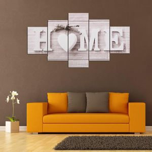 TABLEAU - TOILE TEMPSA 5PCS Panneaux Love HOME Toile Imprimer Phot