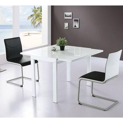 Table Extensible Carrée 4 Places Mdf Blanche - Achat / Vente table à ...