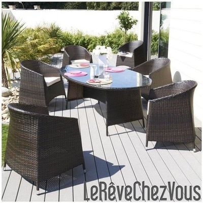 Ensemble Djerba Table Ovale Résine Tressée 200C... - Achat / Vente ...
