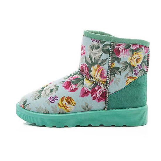Doublé Femmes Hiver Imprimé Automne Fourrure Chaud vert Neige Bottes Chaussures Cheville xhCdtQsr