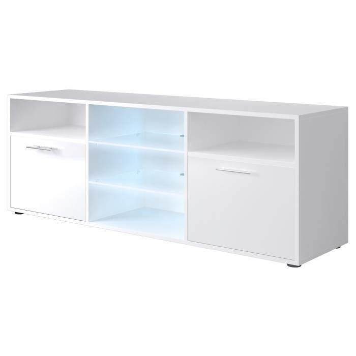 Panneaux de particules blanc brillant - L 150 x P 38 x H 53 cm - 2 portes + 2 niches - LED inclusMEUBLE TV - MEUBLE HI-FI