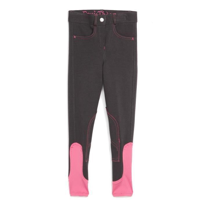 EQUI-THEME Pantalon d'équitation Pro Fun Line - gris / rose - enfant