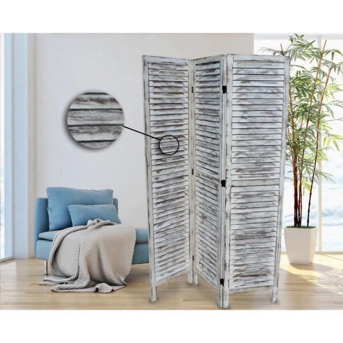 En bois - H 170 x L 120 cm - Blanc - 3 panneauxPARAVENT