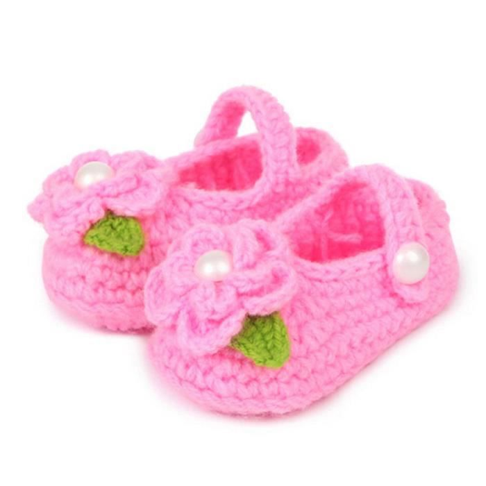 Crib Crochet Casual Baby Girls main Knit Sock infantile Rose Chaussures Rose