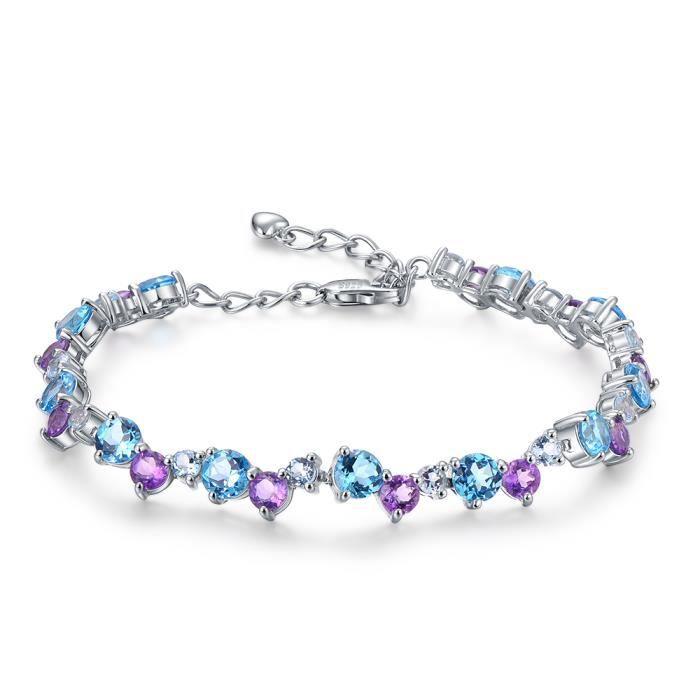 bas prix 9d931 5ba69 Bracelet en argent sterling avec topaze bleue naturelle et ...