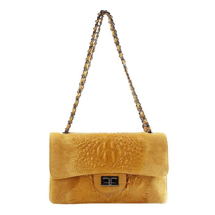 CTM Femmes épaule dembrayage, Petit sac à bandoulière, cuir véritable made in Italy -28x16x8 Cm