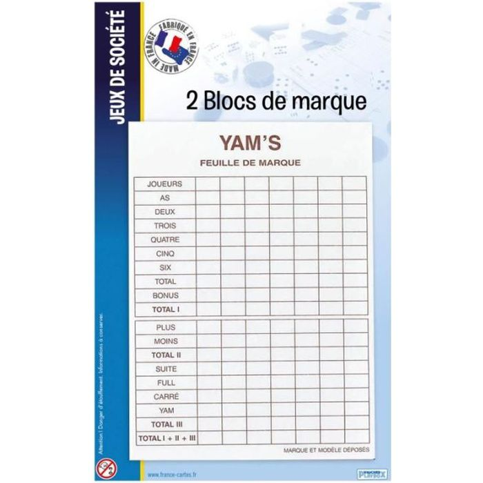 JEU SOCIÉTÉ - PLATEAU 2 Blocs Yam's France Cartes