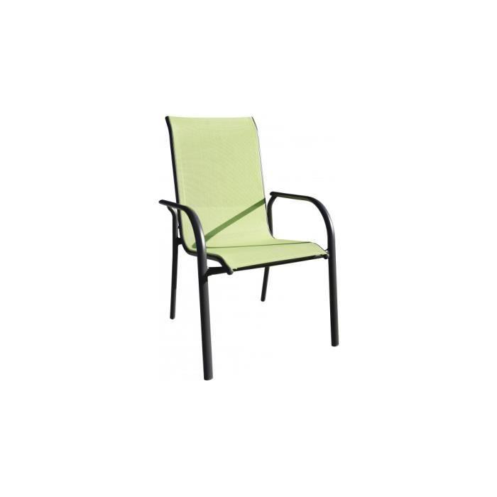 Fauteuil de jardin empilable aluminium noir textilène vert anis ...