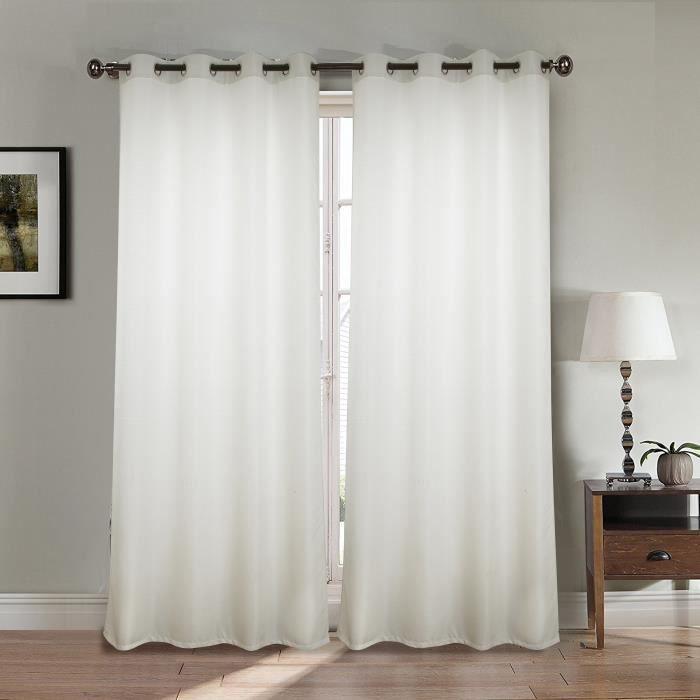 Paire double rideaux 140x260 cm Blanc - Achat / Vente rideau - Cdiscount