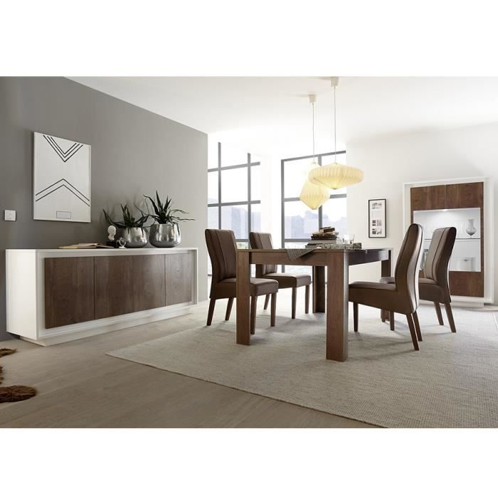 Salle à manger complète blanc laqué mat et couleur bois MARCEAU LED à  couleurs multiples L 180 cm Sans rallonge L 106 x P 50 x H