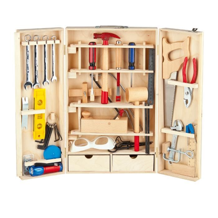 boite a outils bois enfant achat vente jeux et jouets. Black Bedroom Furniture Sets. Home Design Ideas