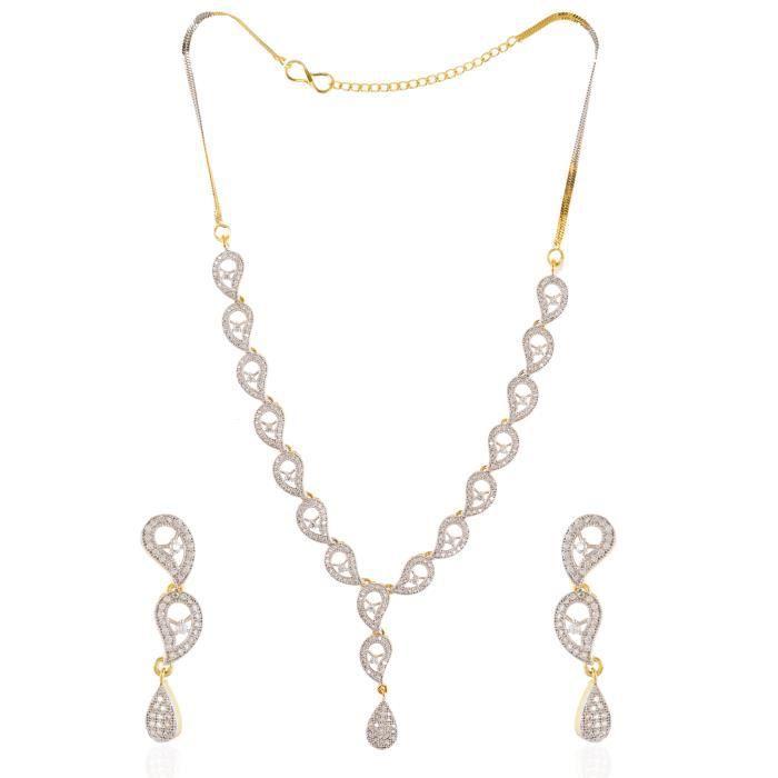 Be You Belle couleur blanche zircone cubique clouté avec boucles doreilles plaqué rhodium argent diamant look et collier pour les