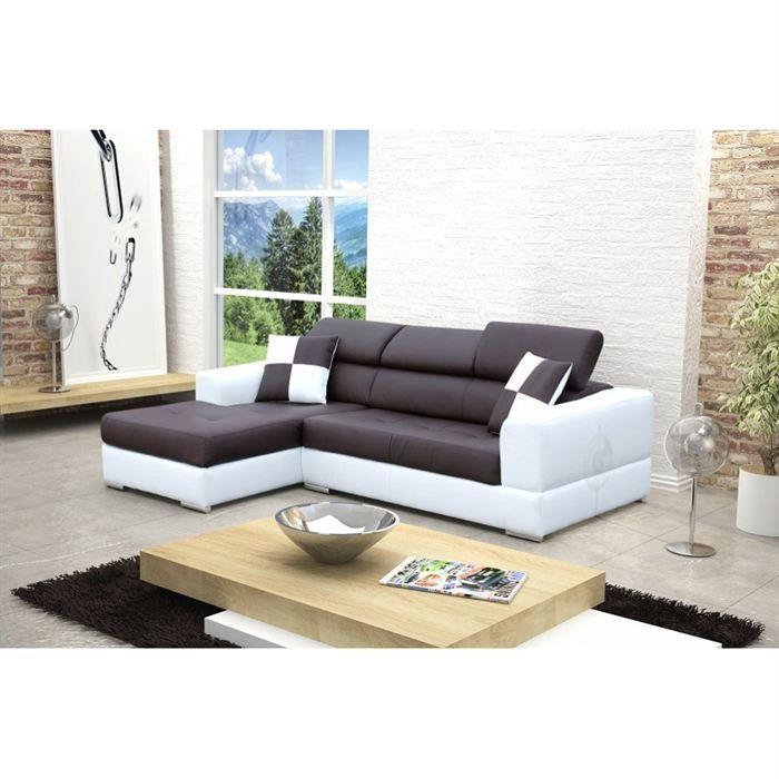 canape d angle gauche design noir et blanc madrid - Canape D Angle Noir Et Blanc Pas Cher