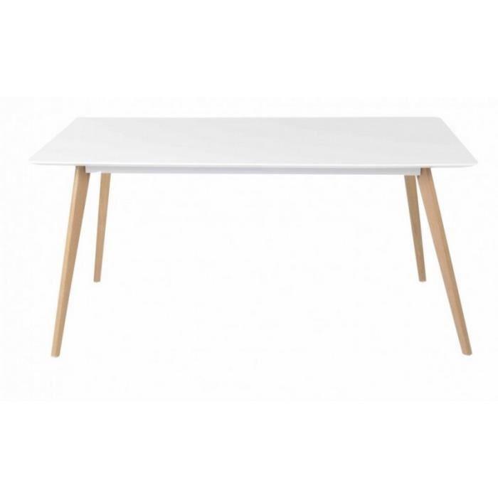 Table Bois Pied Blanc: Table Repas Blanche 4 PIeds Chêne Vintage 160 Cm