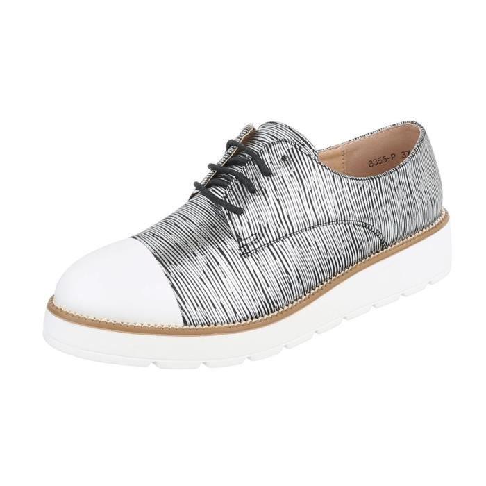 Chaussures femme flâneurs laceter Bottes noir argent 41