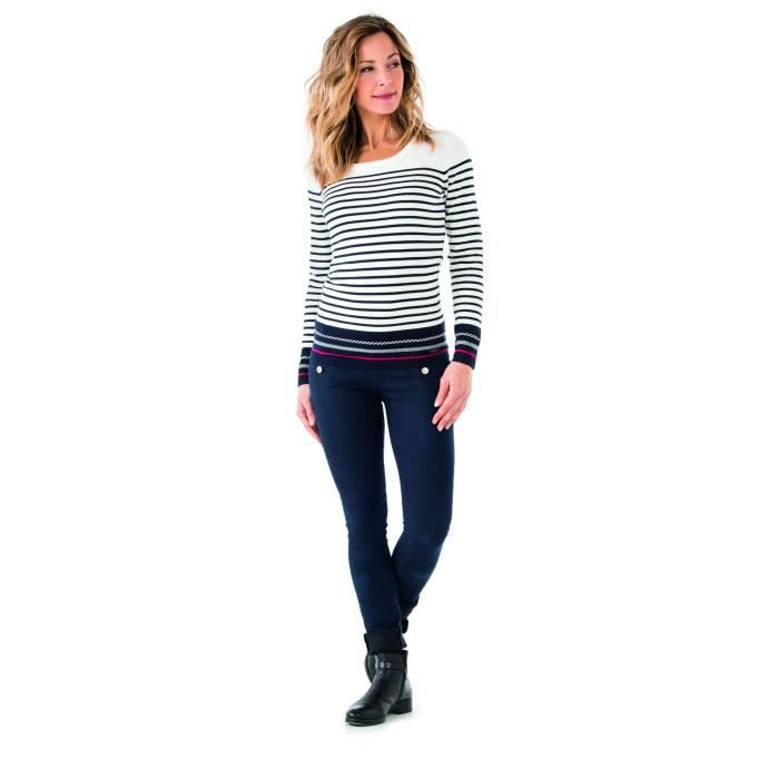 f1032c4e611 Anope rayé marine - Pull femme TERRE DE MARINS MULTICOLOR T5 ...