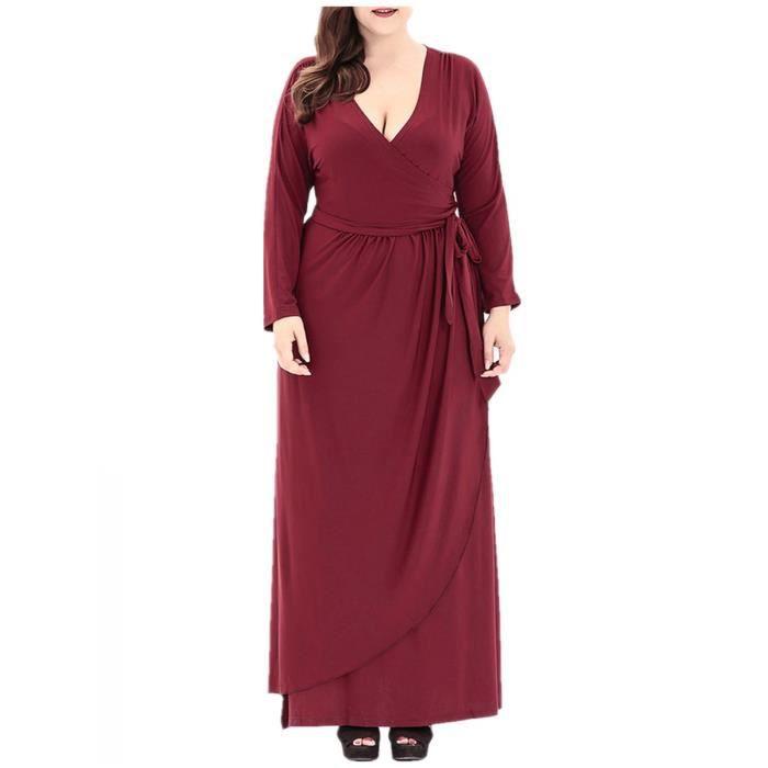 Robe Femmes col en V de couleur unie Maxi Robe longue 8785766
